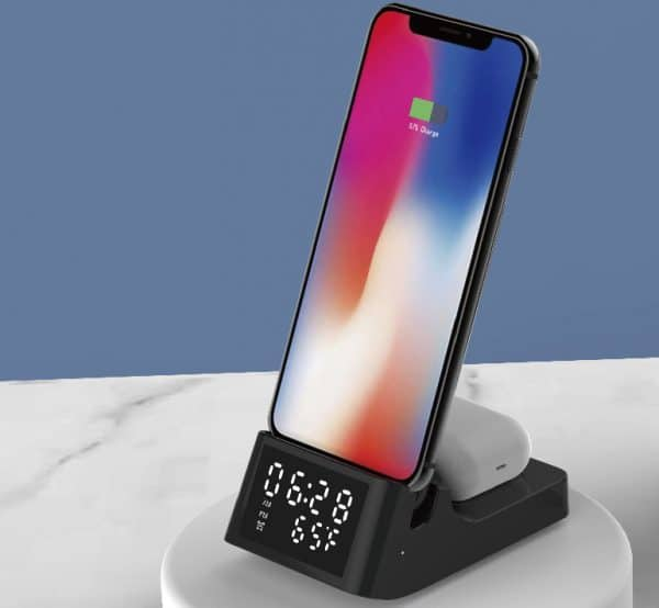 Wireless Charger Stand With Clock Model-M6017Q