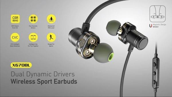 Awei Dual Dynamic Drivers Wireless Sport Earbuds X670BL