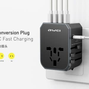 Awei Universal Conversion Plug with Type-C Fast Charging C-702