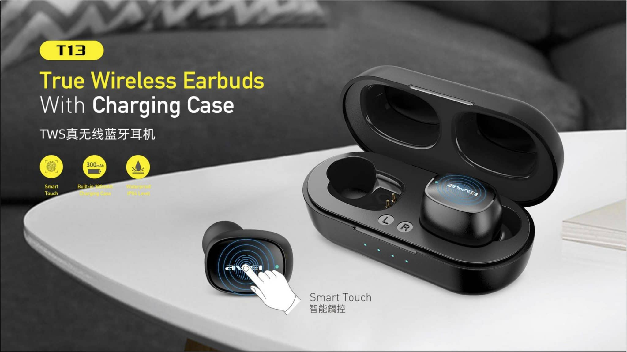 Awei True Wireless Earbuds With Charging Case T13
